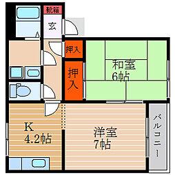 滋賀県彦根市大東町の賃貸アパートの間取り