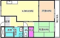 大阪府交野市私部2丁目の賃貸マンションの間取り