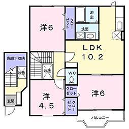 新潟県新潟市東区東中島2丁目の賃貸アパートの間取り