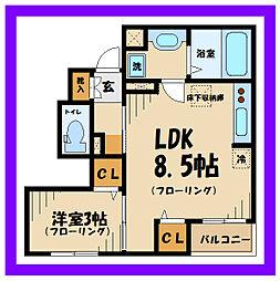 西武多摩川線 是政駅 徒歩4分の賃貸アパート 1階1LDKの間取り