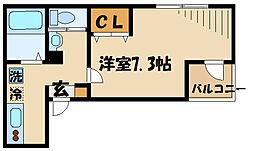 京王線 千歳烏山駅 徒歩11分の賃貸アパート 2階1Kの間取り