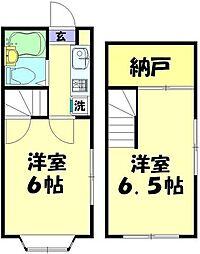 東武東上線 志木駅 徒歩18分の賃貸アパート 1階2Kの間取り