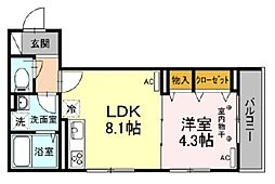 Bellvillage 3階1LDKの間取り