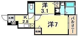 阪急今津線 門戸厄神駅 徒歩22分の賃貸アパート 1階1Kの間取り