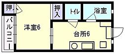コーポ吉賀[105号室]の間取り