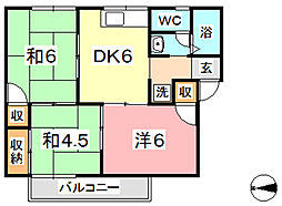 プレジール堀田 2号棟[111号室]の間取り