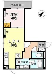 東京メトロ日比谷線 六本木駅 徒歩2分の賃貸マンション 2階1LDKの間取り