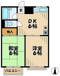 東京都多摩市唐木田1丁目の賃貸アパートの間取り