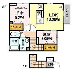 エスケーハイツ 2階2LDKの間取り