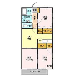 セジュール北中沢[1階]の間取り