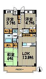 神奈川県鎌倉市手広1丁目の賃貸マンションの間取り