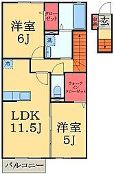 千葉県千葉市緑区土気町の賃貸アパートの間取り