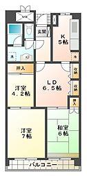 ビレッジハウス京ケ峰タワー[9階]の間取り