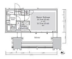 ラ・トゥール新宿アネックス 8階ワンルームの間取り
