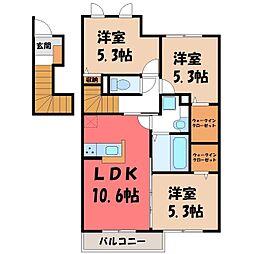 サンライズ パレ 2階3LDKの間取り