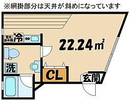 京王線 上北沢駅 徒歩8分の賃貸マンション 4階ワンルームの間取り