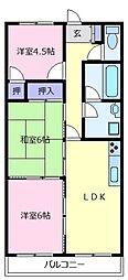 クレイドルコート[3階]の間取り