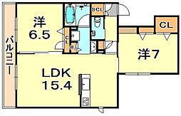 (仮称)シャーメゾン神戸市東灘区深江南町 2階2LDKの間取り