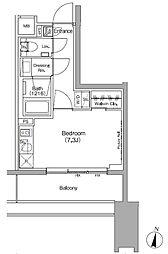 ザ・パークハビオ代々木初台 3階ワンルームの間取り