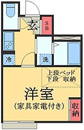 JR総武本線 物井駅 徒歩4分の賃貸アパート 1階1Kの間取り