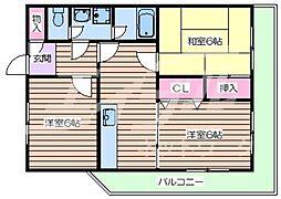 アーバンライフ大宮 6階3DKの間取り