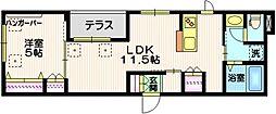 JR山手線 五反田駅 徒歩14分の賃貸マンション 1階1LDKの間取り