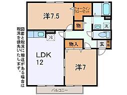 ボナール沖田[2階]の間取り