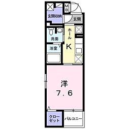 JR中央線 豊田駅 徒歩10分の賃貸マンション 4階1Kの間取り