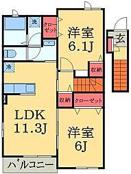 千葉県千葉市緑区刈田子町の賃貸アパートの間取り