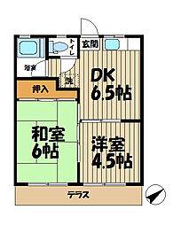 北鎌倉グリーンハイツA[203号室]の間取り