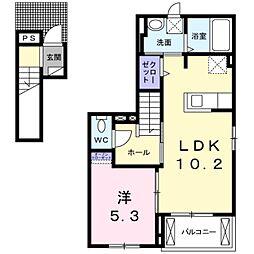 愛知県豊川市松風町の賃貸アパートの間取り
