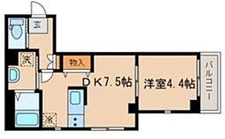 シーズ・ガレリア目黒 2階1DKの間取り
