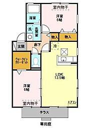 ファラオ上野田[1階]の間取り