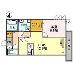 プレミアム正覚寺 2階1LDKの間取り