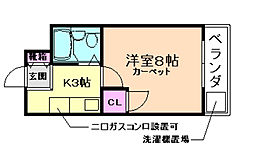 大阪府池田市石橋2丁目の賃貸マンションの間取り
