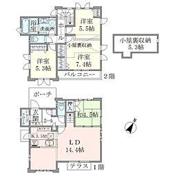 [一戸建] 東京都調布市菊野台3丁目 の賃貸【/】の間取り
