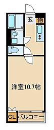 JR川越線 南古谷駅 徒歩18分の賃貸アパート 2階1Kの間取り
