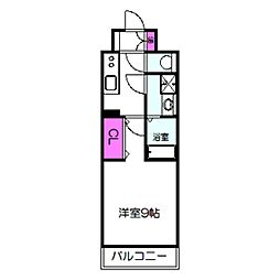 ララプレイス大阪城公園ノルド 4階1Kの間取り