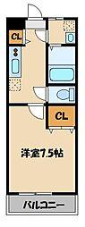 東武東上線 東松山駅 徒歩10分の賃貸アパート 1階1Kの間取り
