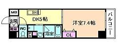 ボヌール梅田 7階1DKの間取り
