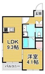 西鉄天神大牟田線 大橋駅 徒歩15分の賃貸マンション 3階1LDKの間取り