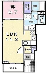 神奈川県川崎市多摩区長沢3丁目の賃貸アパートの間取り