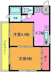 第一早川コーポ[2階]の間取り