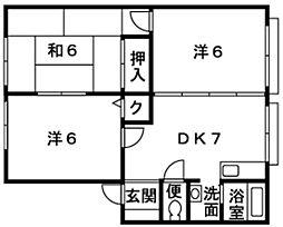 神奈川県平塚市南原1丁目の賃貸アパートの間取り