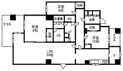 北海道札幌市中央区南三条西8丁目の賃貸マンションの間取り