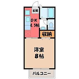 栃木県宇都宮市大和1丁目の賃貸アパートの間取り