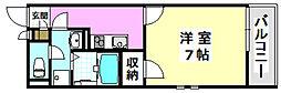 阪急京都本線 南茨木駅 徒歩10分の賃貸マンション 3階1Kの間取り