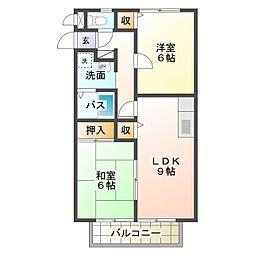 愛知県岡崎市竜美東3丁目の賃貸アパートの間取り