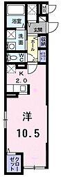 JR青梅線 福生駅 徒歩15分の賃貸マンション 1階ワンルームの間取り
