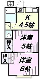 埼玉県所沢市美原町2丁目の賃貸アパートの間取り